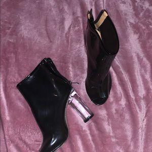 Clear peep toe chunky heels / booties